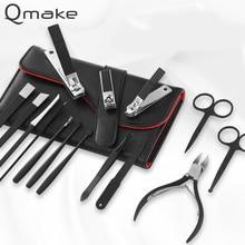 Qmake 15pcs נירוסטה פדיקור מקצועי נייל קליפר סט לציפורן נשר וו פינצטה מניקור יופי כלים ערכת PU תיק