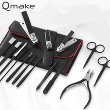 Qmake Juego de cortaúñas profesional para manicura y pedicura, 15 Uds., pinzas Eagle con gancho para cutícula, Kit de herramientas de belleza para manicura, bolsa de PU