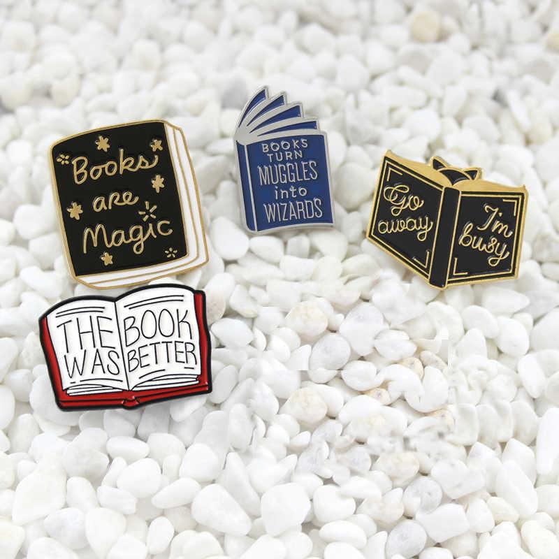 หนังสือ Magic หนังสือดีกว่าเพียง one more หน้าเคลือบ Pin Hedgehog Book Pin การ์ตูนชุด badge เอกสารคนรักของขวัญ