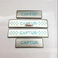 자동차 액세서리 스타일링 Renault Captur 2015-2019 도어 씰 스커프 플레이트 커버 스테인레스 페달 프로텍터 가드 자동 스티커