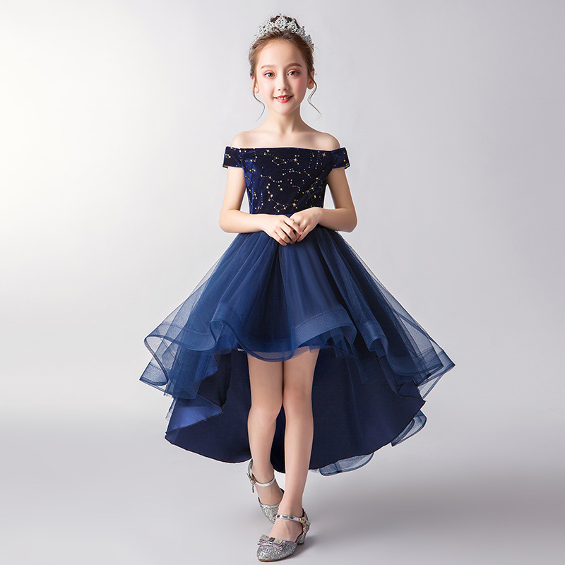CHILDREN'S Dress Princess Dress Flower Boys/Flower Girls Puffy Yarn Small Host Off-Shoulder Late Formal Dress Piano Costume GIRL
