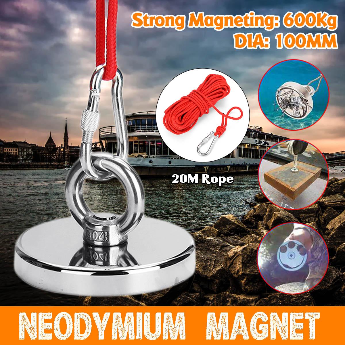 D100mm 600kg forte récupération néodyme aimant pêche Deap mer récupération trésor chasse aimant