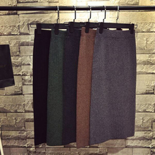 Women Skirts Autumn Winter Warm Knitted Straight S