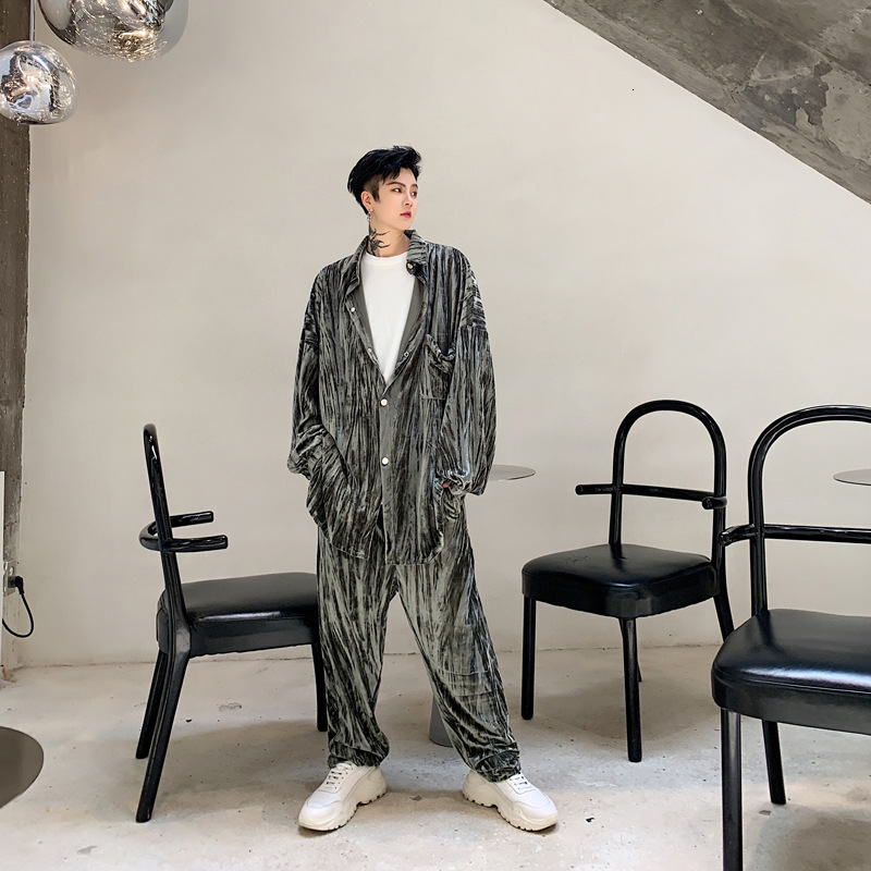 EWQ / 2020 spring fashion new men's set shine Velvet Crumpled Loose long sleeve Coat Pants 2 pieces Suit for male 19H a41 - 4