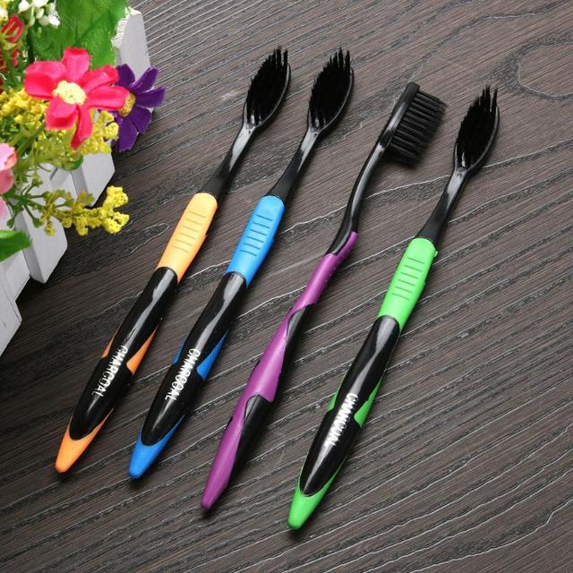 4/5Pcs Bamboe Houtskool Tandenborstel Oral Care Antibacteriële Tandenborstel Met Zwarte Koppen Ultra Fijne Zachte Tandenborstel Voor volwassen