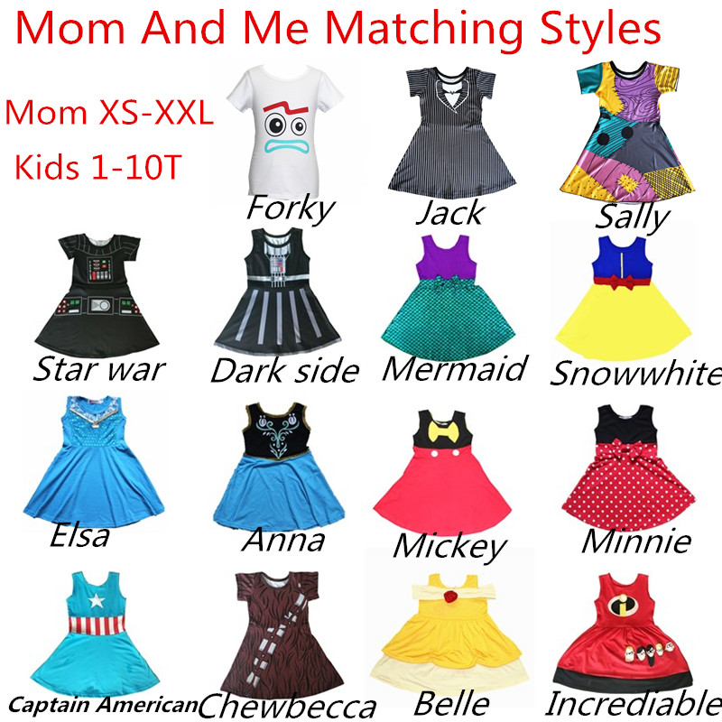 Mum And Me Dress Family Matching Princess Cosply Christmas Dresse Minnie Mermaid Belle Captain Incrediable Costume Sally Dress