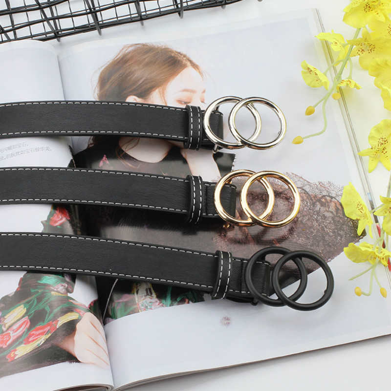 2020 New Women Gold Black Silver Big Double Ring Circle Buckle Belt Waistband Female Ladies Wide Leather Straps Belts For Jeans