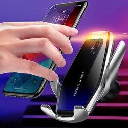 S7 automatyczna ładowarka samochodowa bezprzewodowa ładowarka 15W szybkie ładowanie dla Iphone 11 Pro XR XS Huawei P30 Pro czujnik podczerwieni uchwyt telefonu