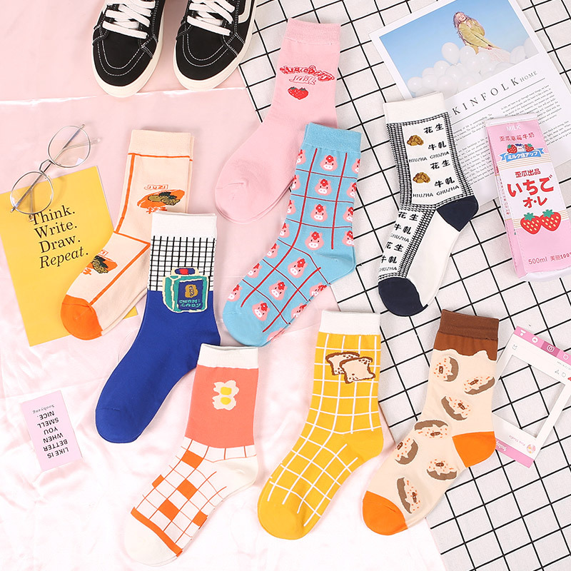 Woman Harajuku Funny Cartoon Animal Food Cotton Socks Funny Egg Bread Cookies Donuts Happy Woman Socks Kawaii Cute Girl Socks