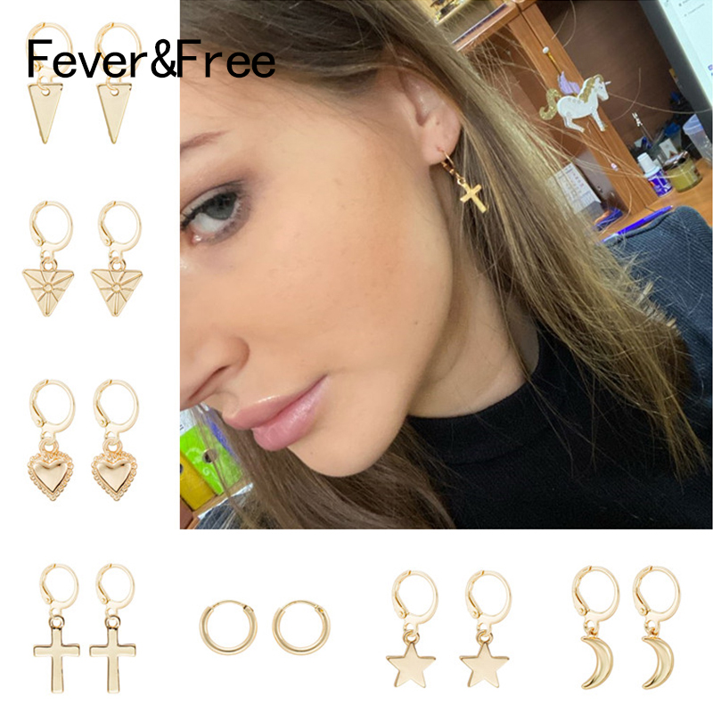 Fever&Free Korean Small Dangle Earrings For Women Fashion Gold Drop Earrings Heart Cross Star Charm Earrings Female Jewelry 2020