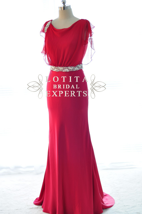 Free Shipping Floor-length Party Gown 2018 New Sexy Cap Sleeve Chiffon Vestidos De Festa Crystal Red Long Bridesmaid Dresses