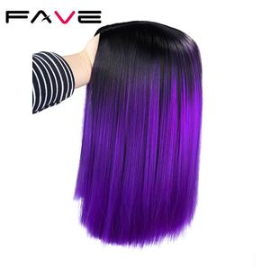 Image 3 - FAVE Ombre Black Purple/Blonde/Grey/Flax Brown/ Straight Synthetic Wig Shoulder Length Middle Part Cosplay For Womens Daily Wig
