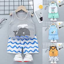 Cute Summer Baby Boy Cotton Clothes Toddler Boys Girls Cartoon Vest Shorts 2pcs Suits New Children Print Clothing Sets Kids(China)