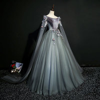 dark grey 18th century coronation cosplay ball gown medieval dress Renaissance gown queen Victorian Belle Ball gown costume