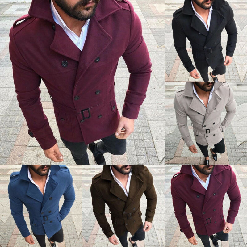 Outwear Coat Wool Double-Breasted Winter S-XL Warm Men New-Size