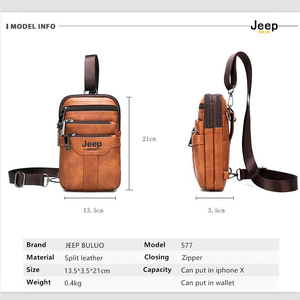 Image 2 - JEEP BULUO Multi function Small Sling Chest Bag Legs Waist Bag For Man New Fashion Casual Crossbody Men Messenger Bags
