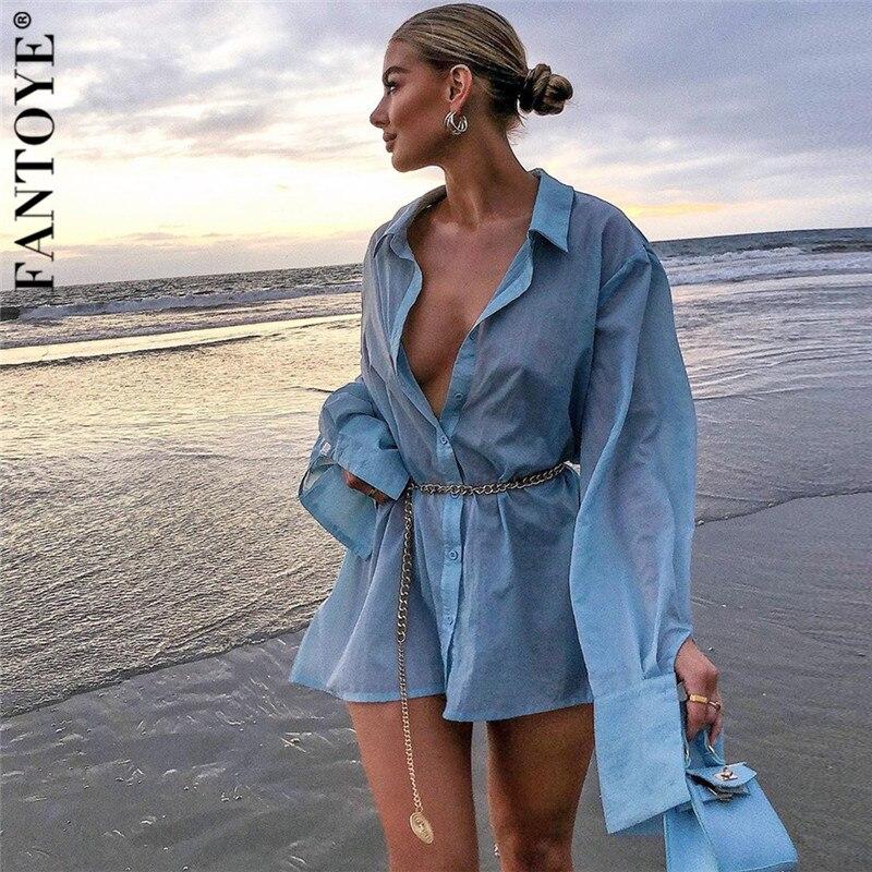Женское платье рубашка FANTOYE, Синее джинсовое платье с отложным воротником и длинным рукавом, топ с высокой талией и металлической цепочкой на талии|Платья|   | АлиЭкспресс