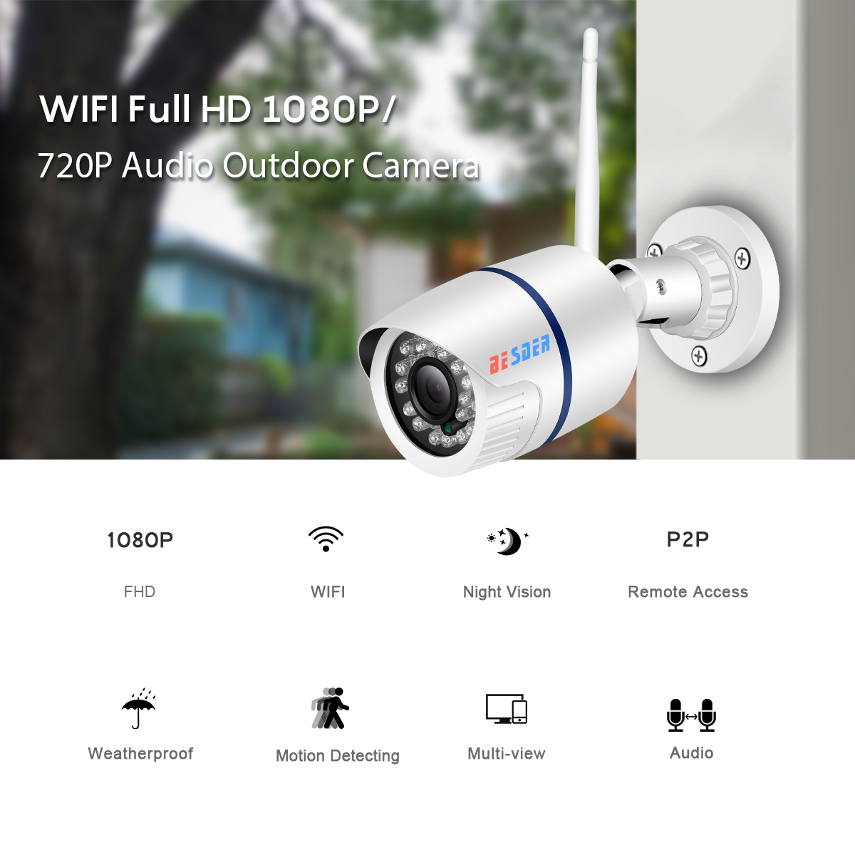 H1d9ce852684d41b2934e81916e6f1d39f BESDER iCsee ONVIF Audio IP Camera 1080P 720P Wireless Wired P2P Alarm CCTV Bullet Outdoor Wifi Camera With SD Card Slot Max 64G