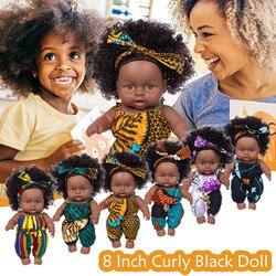 Черная африканская кукла, игрушка, 8 дюймов, виниловая милая детская игрушка, Рождественский лучший подарок, куклы, игрушки для девочек 2021