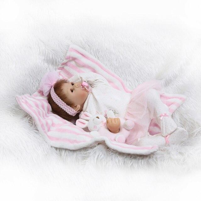 Newborn Sweet Face Lifelike Bebe Doll Reborn Baby Hand Rooted Hair 4