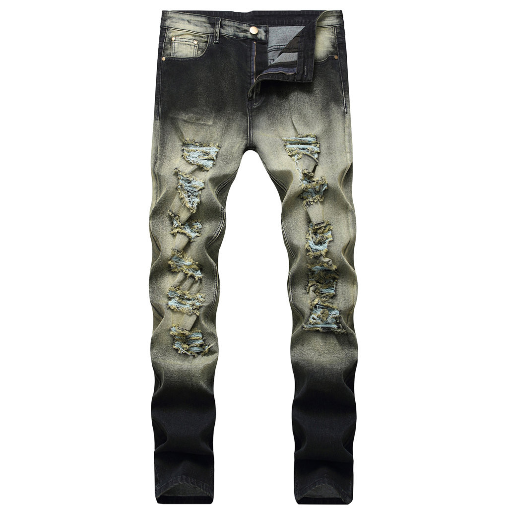 Vintage Ripped Jeans Men Zipper Skinny Denim Pants Classic Cowboy Hip Pop Slim Fit Destroyed Jeans Pencil Pants  10.21