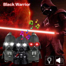 LED small flashlight portable keychain black samurai backpack chain night light luminous toy children birthday gift with sound