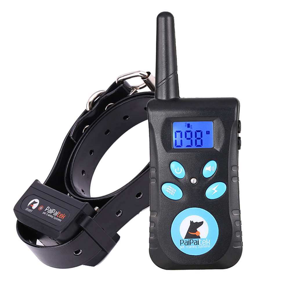 Two in One Automatic Anti bark 1500ft remote pet Dog training electric shock collar bark with free anti abrasion buckle& whistle title=