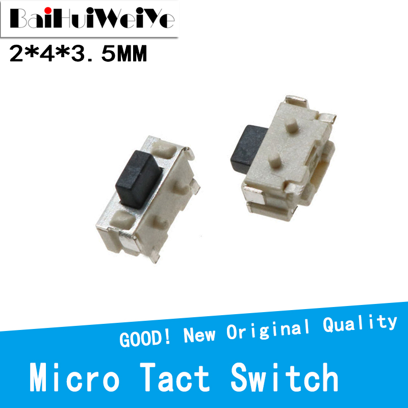 100pcs/lot 2x4 2*4*3.5 MM micro SMD interrupteur Momentary Tact Switch side button Switch phone button