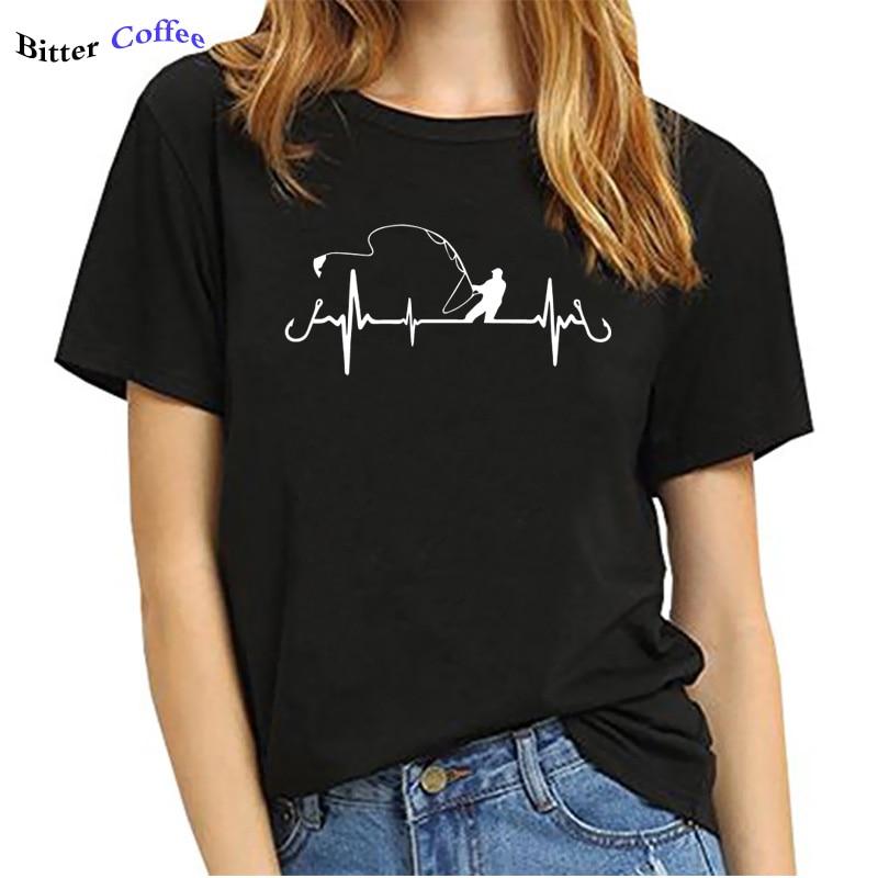 NEW Heart  beat Fly Fishing T-Shirt For Women 1