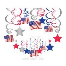 30 pçs americano bandeira nacional folha espirais quarto de julho festa decoração dia independência pvc teto pendurado redemoinho festa favor