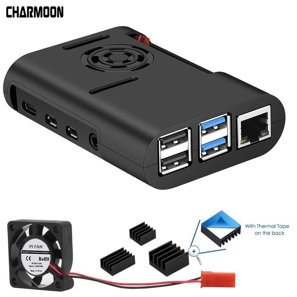 Raspberry Pi 4 Case, Raspberry Pi Case With Cooling Fan Raspberry Pi 4 Heatsink For Raspberry Pi 4 Model B Case Black White