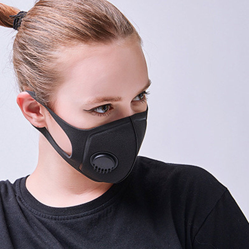 Face Mouth Mask with Breathing Valves Anti Air Pollution Dust Smoke for Outdoor Activities  &T8