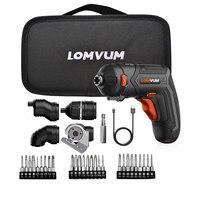 LOMVUM – Mini destornillador eléctrico inalámbrico, set de 4 destornilladores, multifuncional, recargable por USB, 4 cabezales variables