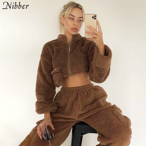 Nibber Flannel Zipper Corp Tops Coat Cargo Pants Sets Womens Autumn Winter Y2K Overalls Jacket Suits Sportswear Pullover Female