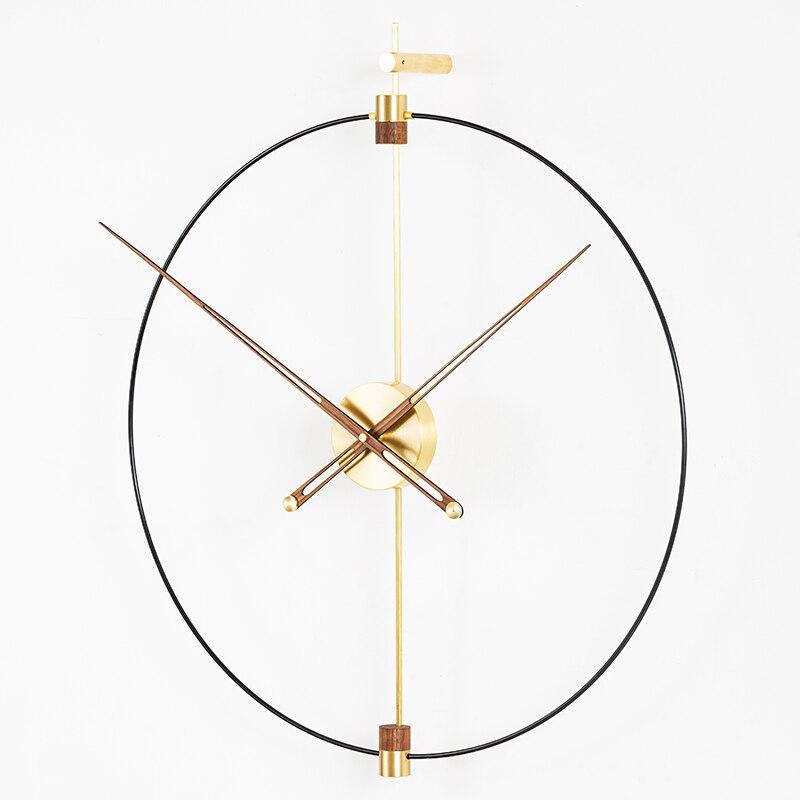 Grande relógio de parede diy design moderno nordic simples arte do ferro 3d decoração relógio de parede grandes dimensões relógios de parede de bronze decoração para casa 80x93 cm - 6