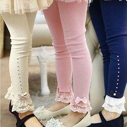 Varejo 3 t a 11 t crianças meninas primavera outono rosa azul bege guarnição do laço plissado strass leggings crianças princesa algodão legging