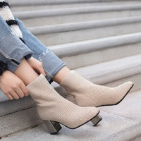 2019 Autumn Boots Fashion Elastic Knitting Ankle Boots Sock Pumps High Heels Boots Shoes Women Square Toe High Metal Heel 8J16