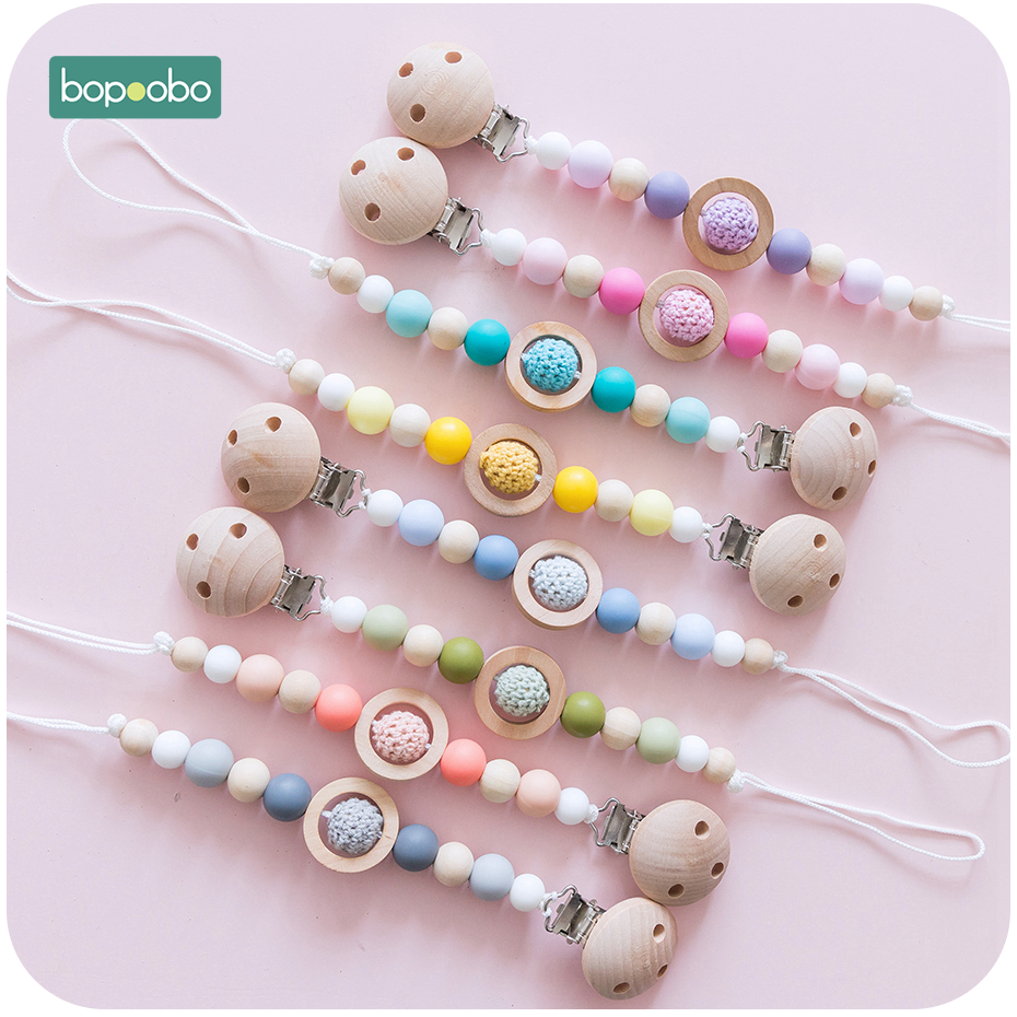 Bopoobo 1pc Silicone Teethers Beech Crochet Beads Bpa Free Pacifier Clip Food Grade Silicone Jewelry Making For Teeth Clip Chain