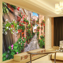 Nordic Town Hippie Tapestry 3D Plant Flowers Wall Boho Ancient Architecture Promenade Hanging Art