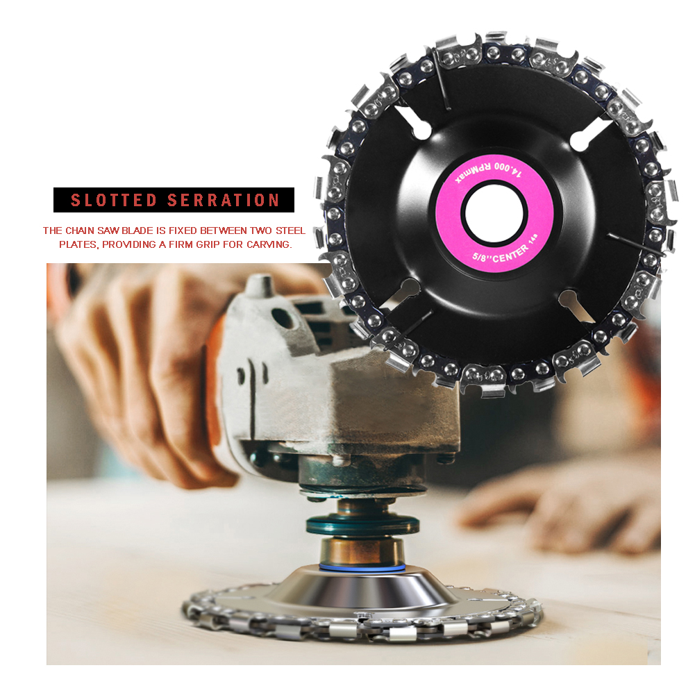 4 Inch Chain 22 Tooth Fine Cutting Chain Disc Set For 100/115 Angle Grinder Grinding Disc Chainsaws Wood Craving Disc