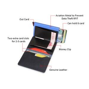 DIENQI Противоугонная натуральная кожа для мужчин кредитница для кредитных карт визитница для ID банковских карт кошелек Автоматическая RFID ал...