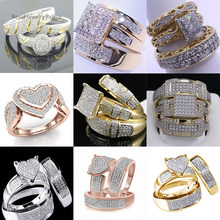 Nine styles fashion high-end ladies crystal zircon ring luxury shiny wedding ring engagement / party / anniversary ring H5M039(China)