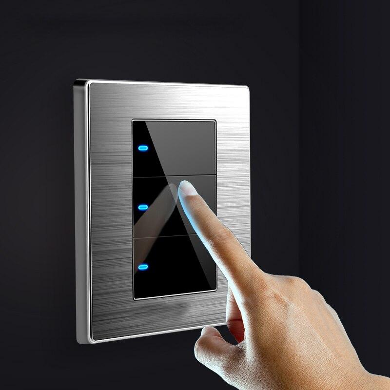 86 tipo 1/2/3 gang 1 way 2 way interruptor com led interruptor de parede do agregado familiar clique aleatório interruptor escovado espelho de aço inoxidável interruptor de reset