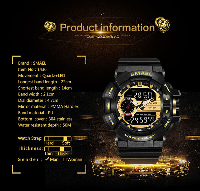 SMAEL Men Sports Watch Military Watches LED Quartz Dual Display Waterproof Outdoor Sport Men's Wristwatches Relogio Masculino 5
