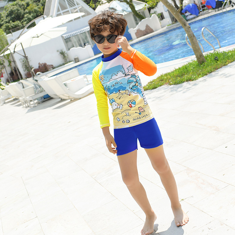 2019 New Style Split Type High Collar Multi-color Mosaic Cartoon Beach Printed With Shorts Casual Swimming Suit