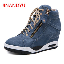 Women's Wedges Sneakers New High Top Women Chunky Sneakers Platform Shoes Zapati