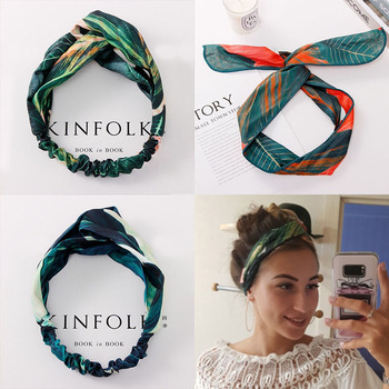 Summer Bohemian Print Leaves Hairbands Elastic Headbands For Women Retro Cross Knot Turban Bandanas Hair Bands Accessories - discount item  28% OFF Headwear
