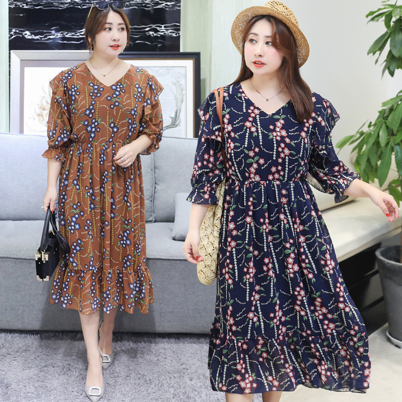 [LIMITED Time Feedback] French Retro Mid-length Plus-sized Extra Large Chiffon Dress Sweet 1111