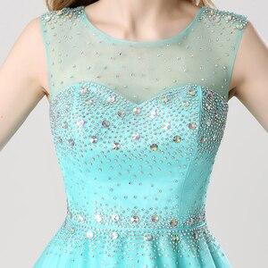 Image 4 - Vestido corto de graduación con lentejuelas brillantes para chica a la moda vestido de fiesta con espalda abierta y cuello transparente AJ032