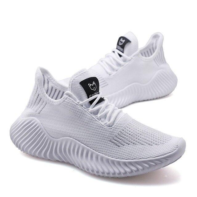 Zapatillas de correr para hombre, zapatos planos transpirables de malla de aire con cordones, informales 1